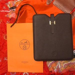 Authentic HERMES tablet sleeve with gold hardware